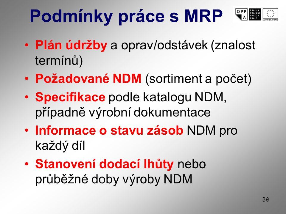 39 Podmínky práce s MRP Plán údržby a oprav/odstávek (znalost termínů) Požadované NDM (sortiment a počet) Specifikace podle katalogu NDM, případně výrobní dokumentace Informace o stavu zásob NDM pro každý díl Stanovení dodací lhůty nebo průběžné doby výroby NDM