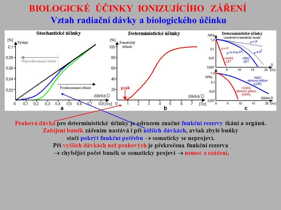 BIOLOGICKÉ ÚČINKY IONIZUJÍCÍHO ZÁŘENÍ Vztah radiační dávky a biologického účinku Prahová dávka pro deterministické účinky je odrazem značné funkční re