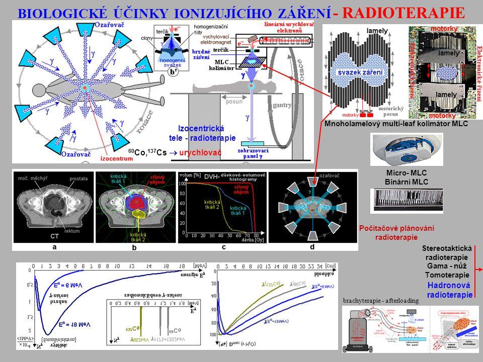 Stereotaktická radioterapie Gama - nůž Tomoterapie Mnoholamelový multi-leaf kolimátor MLC Micro- MLC Binární MLC Hadronová radioterapie Počítačové plá