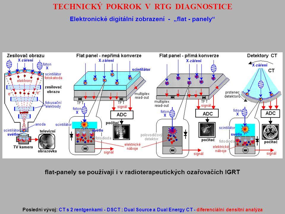 """TECHNICKÝ POKROK V RTG DIAGNOSTICE Elektronické digitální zobrazení - """"flat - panely"""" Poslední vývoj: CT s 2 rentgenkami - DSCT : Dual Source a Dual E"""