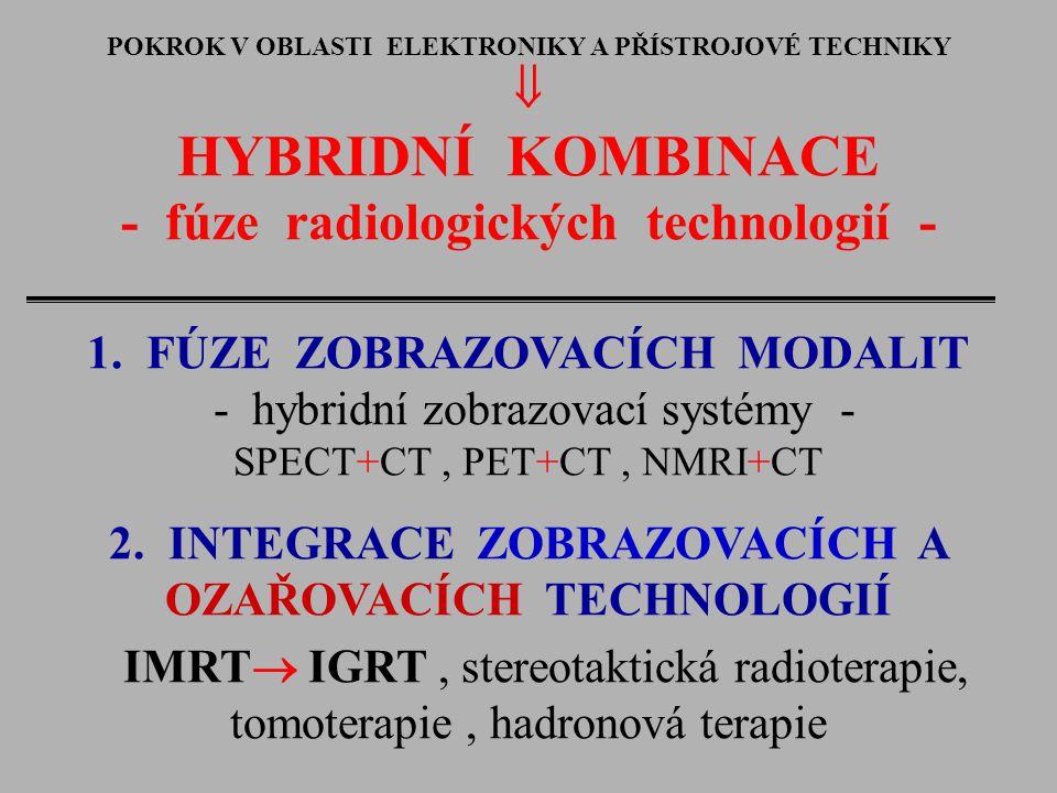 POKROK V OBLASTI ELEKTRONIKY A PŘÍSTROJOVÉ TECHNIKY  HYBRIDNÍ KOMBINACE - fúze radiologických technologií - 1. FÚZE ZOBRAZOVACÍCH MODALIT - hybridní