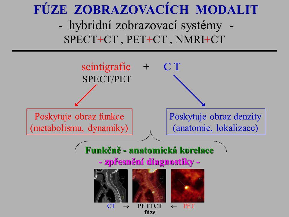 FÚZE ZOBRAZOVACÍCH MODALIT - hybridní zobrazovací systémy - SPECT+CT, PET+CT, NMRI+CT scintigrafie + C T SPECT/PET Poskytuje obraz funkce (metabolismu