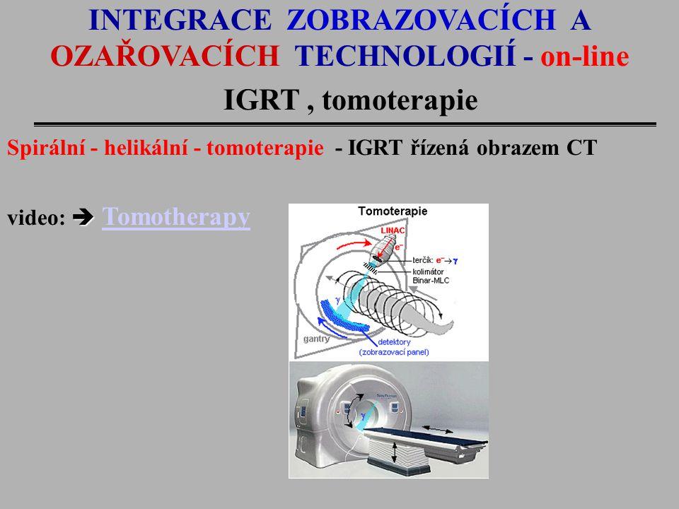INTEGRACE ZOBRAZOVACÍCH A OZAŘOVACÍCH TECHNOLOGIÍ - on-line IGRT, tomoterapie Spirální - helikální - tomoterapie - IGRT řízená obrazem CT  video:  T