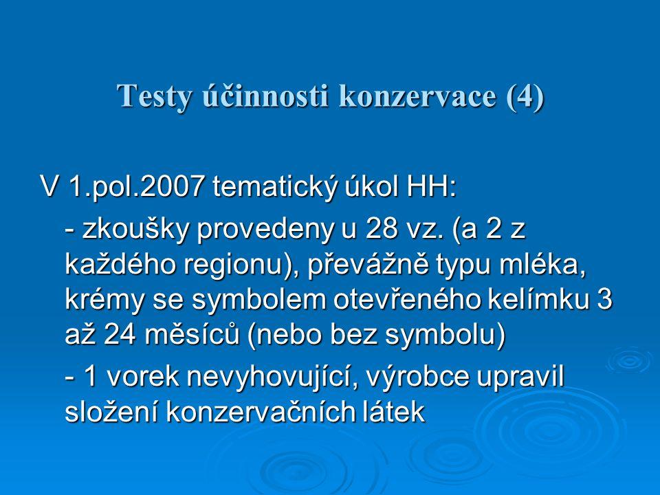Testy účinnosti konzervace (4) V 1.pol.2007 tematický úkol HH: - zkoušky provedeny u 28 vz.