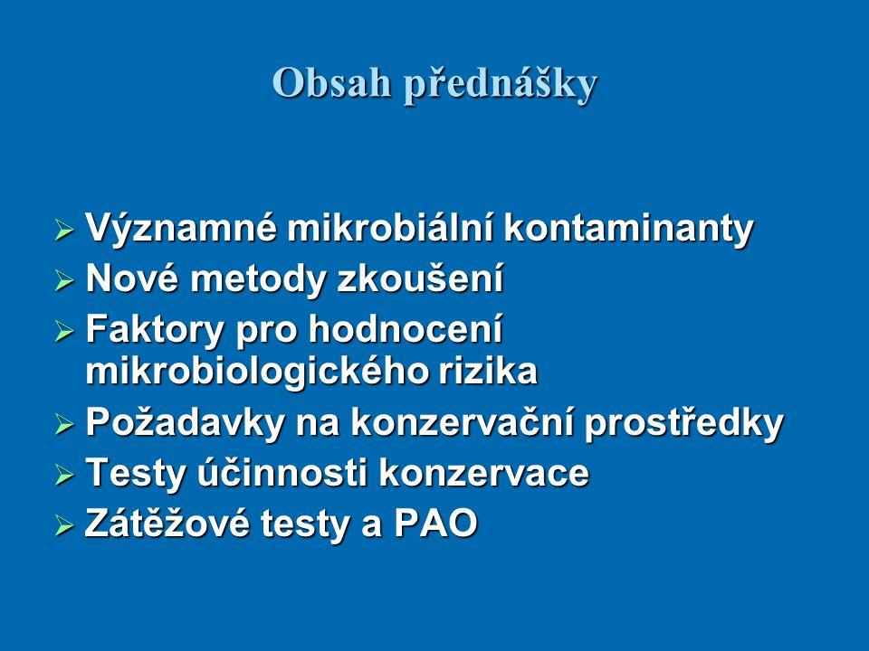 Významné bakteriální kontaminanty  Patogenní: - Pseudomonas aeruginosa - Staphylococcus aureus - Candida albicans  Indikátorové - mesofilní aerobní bakterie (CPM) - výjimečně Escherichia coli, Enterobacteriaceae - kvasinky - plísně