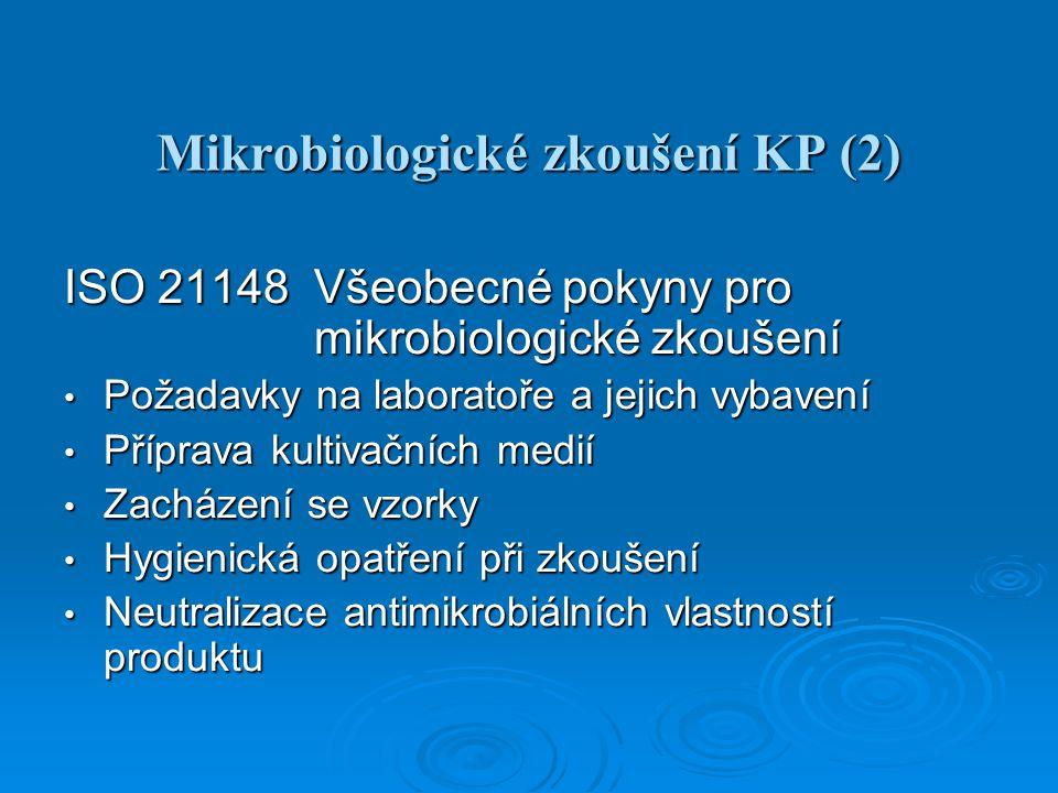 Mikrobiologické zkoušení KP (3) ISO 21149 Stanovení počtu a průkaz aerobních mesofilních bakterií Stanovení počtu přelivem nebo roztěrem Stanovení počtu přelivem nebo roztěrem Průkaz (detekce) po pomnožení v půdě s lecitinem, polysorbátem 80 a octoxynolem (Eugon LT 100 broth) Průkaz (detekce) po pomnožení v půdě s lecitinem, polysorbátem 80 a octoxynolem (Eugon LT 100 broth) Kultivační teplota 32,5 ± 2,5 °C Kultivační teplota 32,5 ± 2,5 °C Validace účinnosti neutralizace se S.aureus a P.aeruginosa (E.coli) Validace účinnosti neutralizace se S.aureus a P.aeruginosa (E.coli) Výběr látek a roztoků k neutralizaci antimikrobiálních vlastností produktu Výběr látek a roztoků k neutralizaci antimikrobiálních vlastností produktu