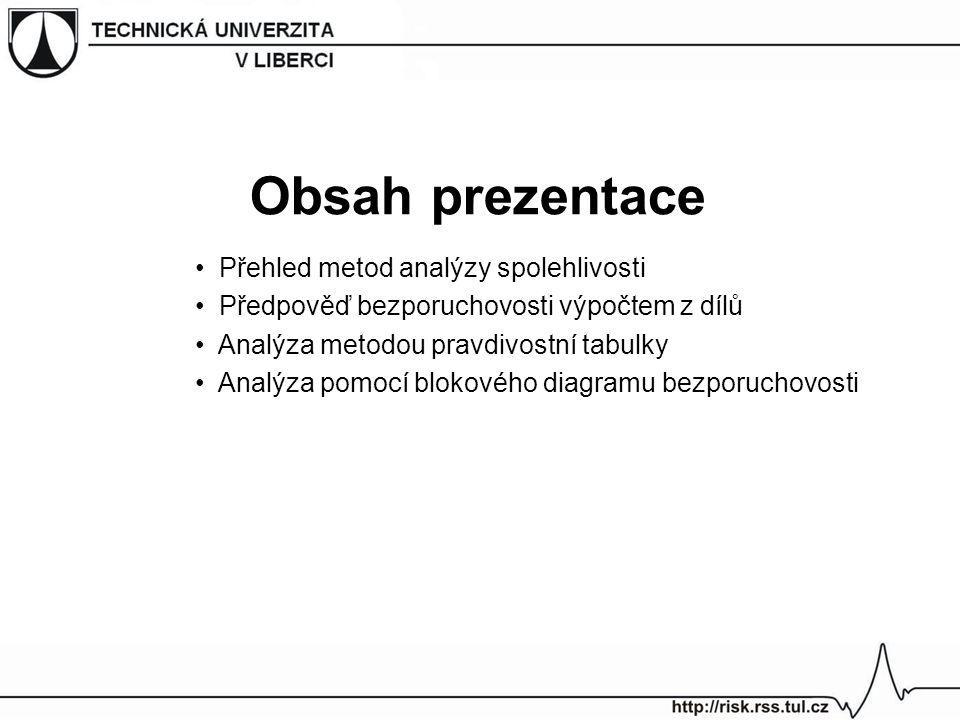 Obsah prezentace Přehled metod analýzy spolehlivosti Předpověď bezporuchovosti výpočtem z dílů Analýza metodou pravdivostní tabulky Analýza pomocí blo