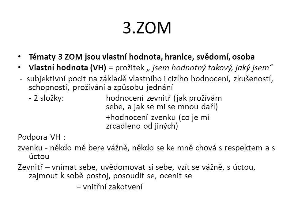 """3.ZOM Tématy 3 ZOM jsou vlastní hodnota, hranice, svědomí, osoba Vlastní hodnota (VH) = prožitek """" jsem hodnotný takový, jaký jsem"""" - subjektivní poci"""