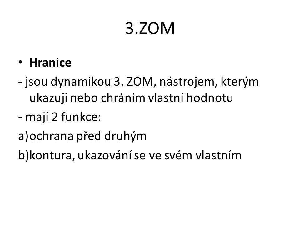 3.ZOM Hranice - jsou dynamikou 3. ZOM, nástrojem, kterým ukazuji nebo chráním vlastní hodnotu - mají 2 funkce: a)ochrana před druhým b)kontura, ukazov