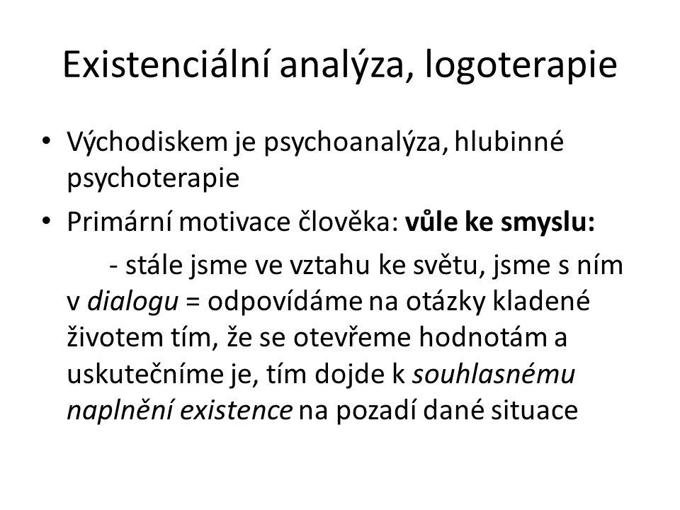 Existenciální analýza, logoterapie Východiskem je psychoanalýza, hlubinné psychoterapie Primární motivace člověka: vůle ke smyslu: - stále jsme ve vzt