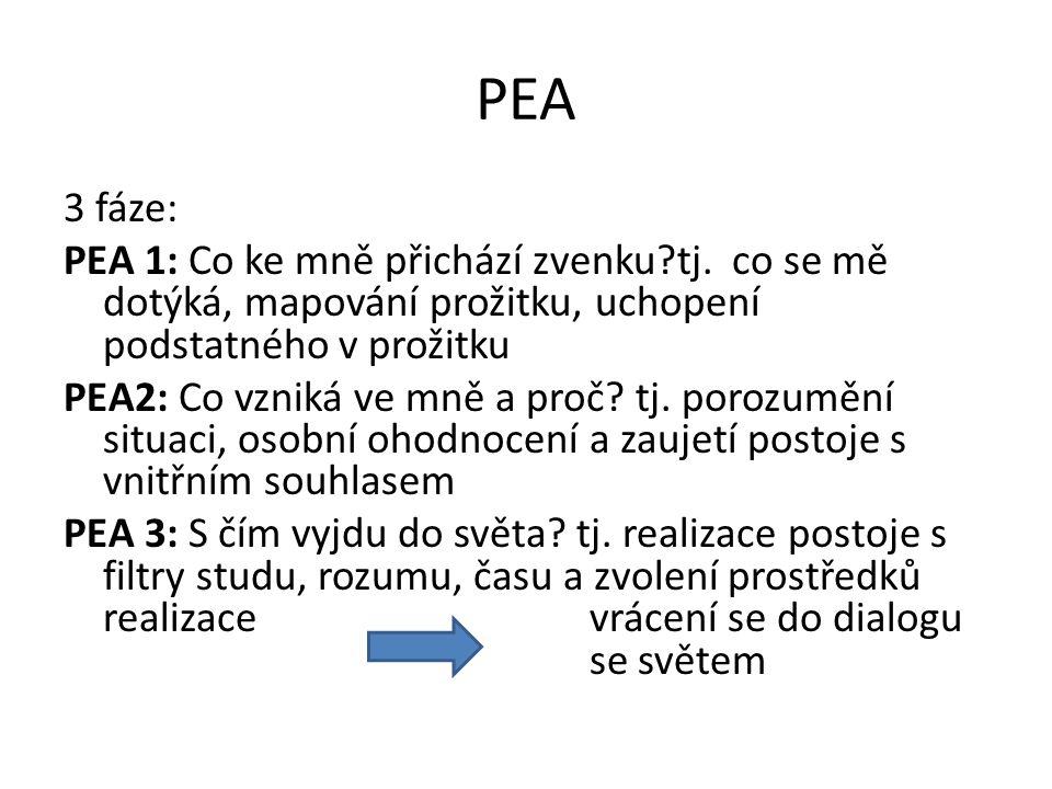 PEA 3 fáze: PEA 1: Co ke mně přichází zvenku?tj. co se mě dotýká, mapování prožitku, uchopení podstatného v prožitku PEA2: Co vzniká ve mně a proč? tj