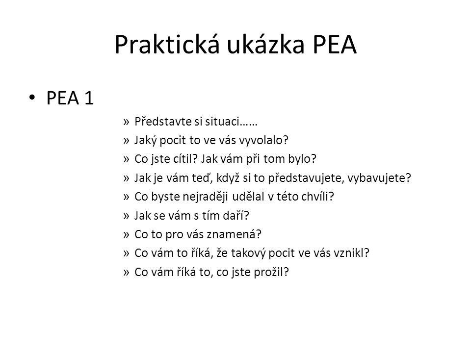 Praktická ukázka PEA PEA 1 » Představte si situaci…… » Jaký pocit to ve vás vyvolalo? » Co jste cítil? Jak vám při tom bylo? » Jak je vám teď, když si