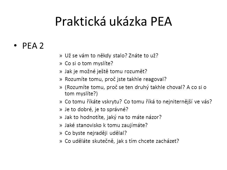 Praktická ukázka PEA PEA 2 » Už se vám to někdy stalo? Znáte to už? » Co si o tom myslíte? » Jak je možné ještě tomu rozumět? » Rozumíte tomu, proč js