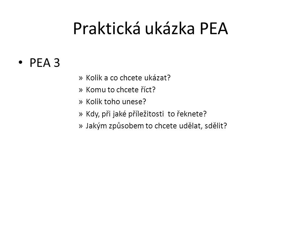 Praktická ukázka PEA PEA 3 » Kolik a co chcete ukázat? » Komu to chcete říct? » Kolik toho unese? » Kdy, při jaké příležitosti to řeknete? » Jakým způ