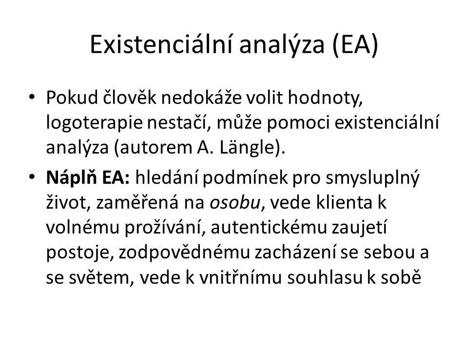 Existenciální analýza (EA) Pokud člověk nedokáže volit hodnoty, logoterapie nestačí, může pomoci existenciální analýza (autorem A. Längle). Náplň EA: