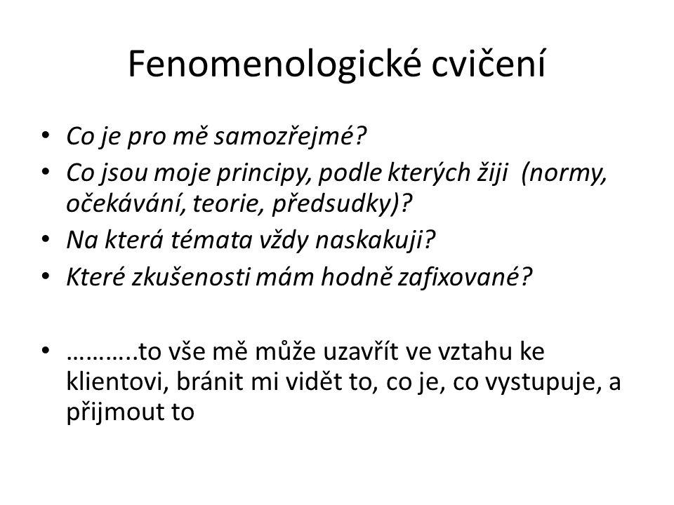 Fenomenologické cvičení Co je pro mě samozřejmé? Co jsou moje principy, podle kterých žiji (normy, očekávání, teorie, předsudky)? Na která témata vždy