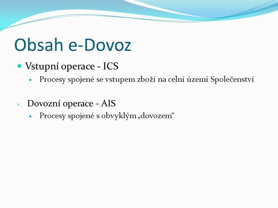 """Obsah e-Dovoz Vstupní operace - ICS Procesy spojené se vstupem zboží na celní území Společenství Dovozní operace - AIS Procesy spojené s obvyklým """"dov"""