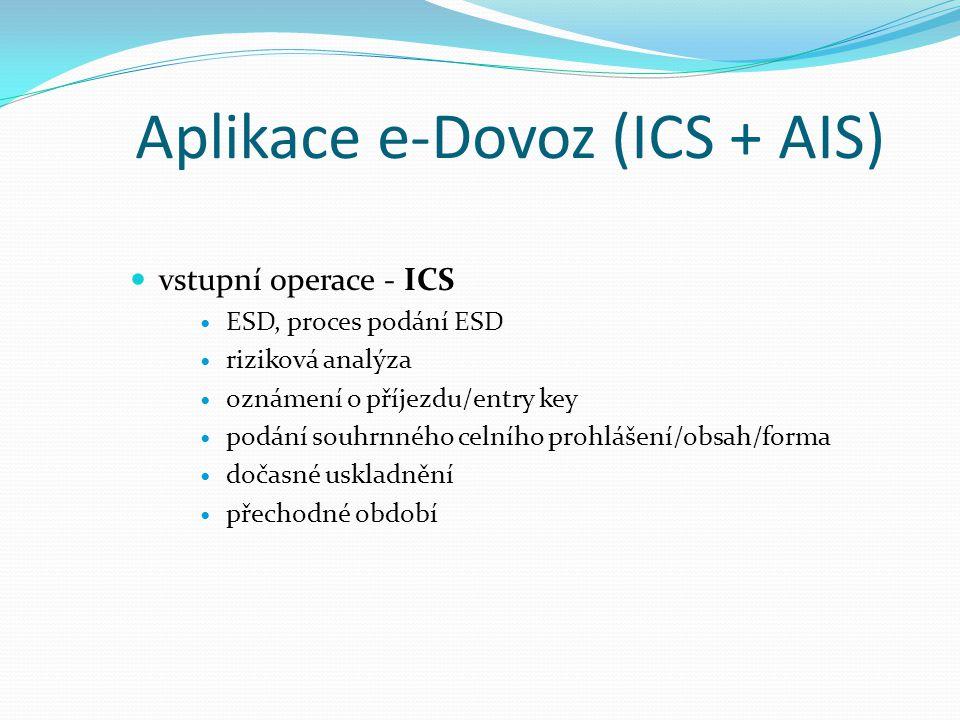 Aplikace e-Dovoz (ICS + AIS) vstupní operace - ICS ESD, proces podání ESD riziková analýza oznámení o příjezdu/entry key podání souhrnného celního pro