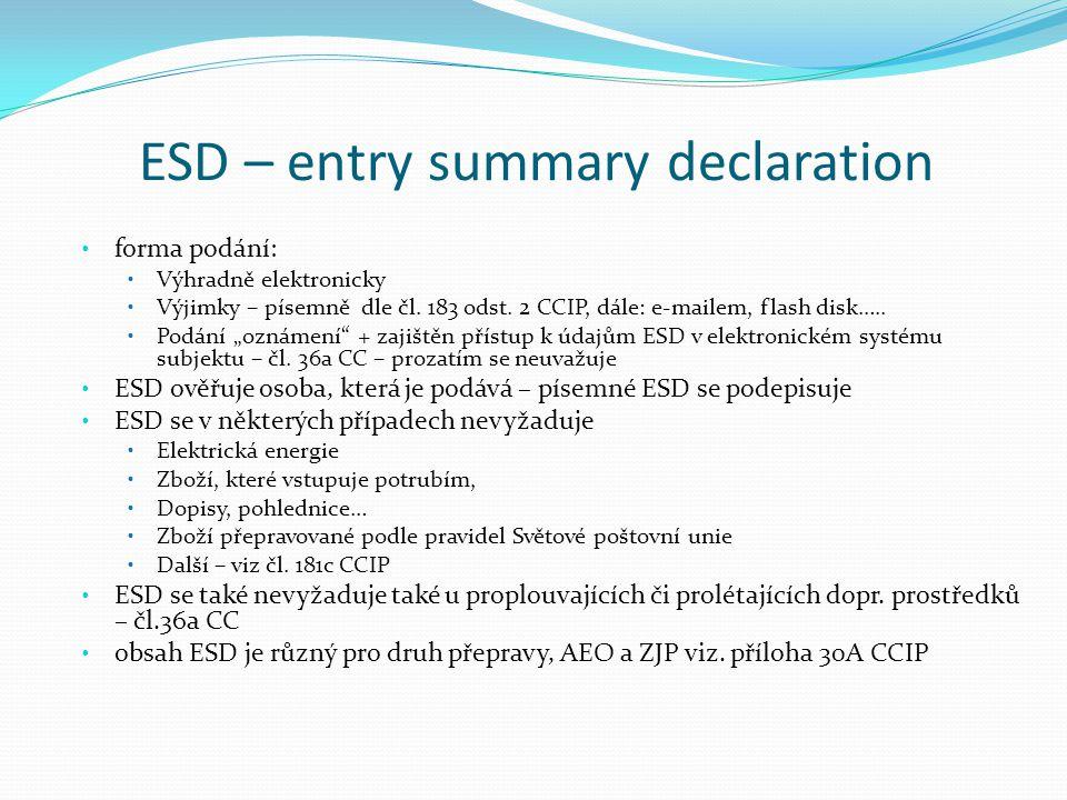 """ESD – entry summary declaration forma podání: Výhradně elektronicky Výjimky – písemně dle čl. 183 odst. 2 CCIP, dále: e-mailem, flash disk….. Podání """""""