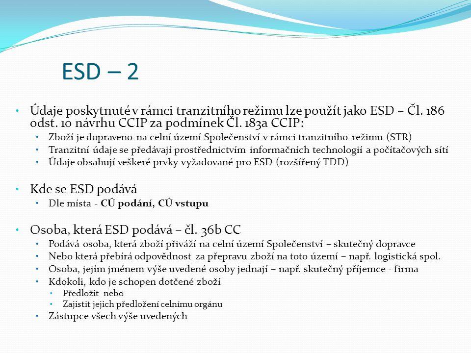 ESD – 2 Údaje poskytnuté v rámci tranzitního režimu lze použít jako ESD – Čl.