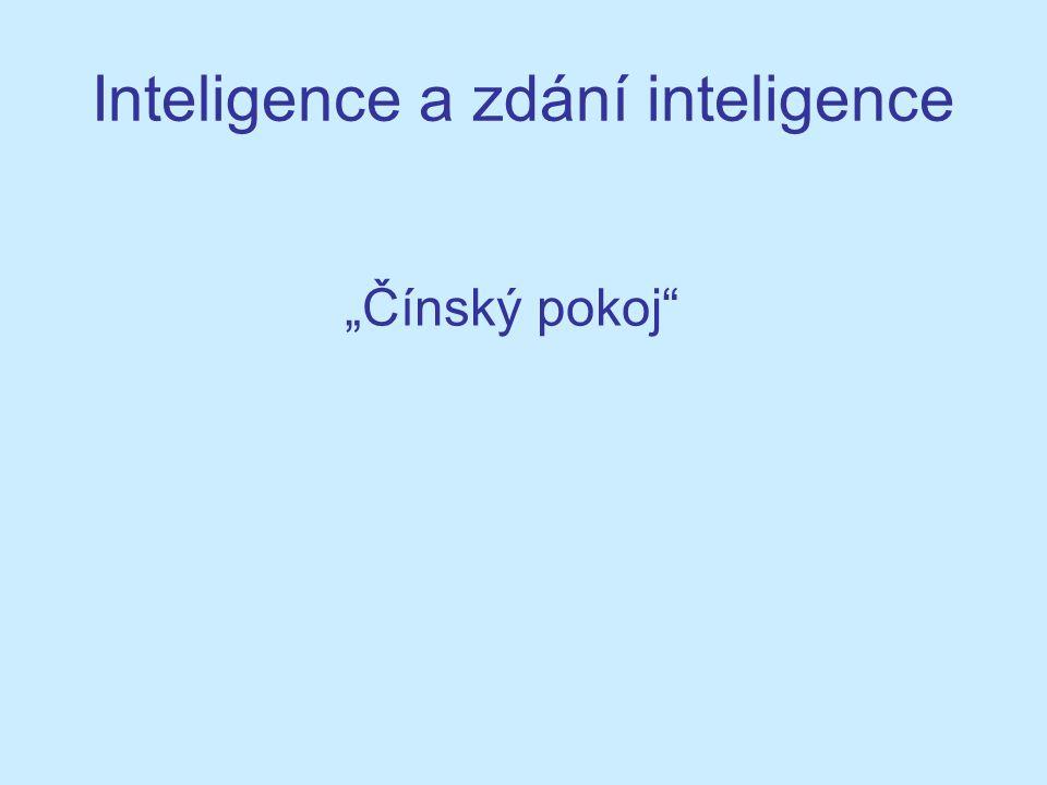 """Inteligence a zdání inteligence """"Čínský pokoj"""""""