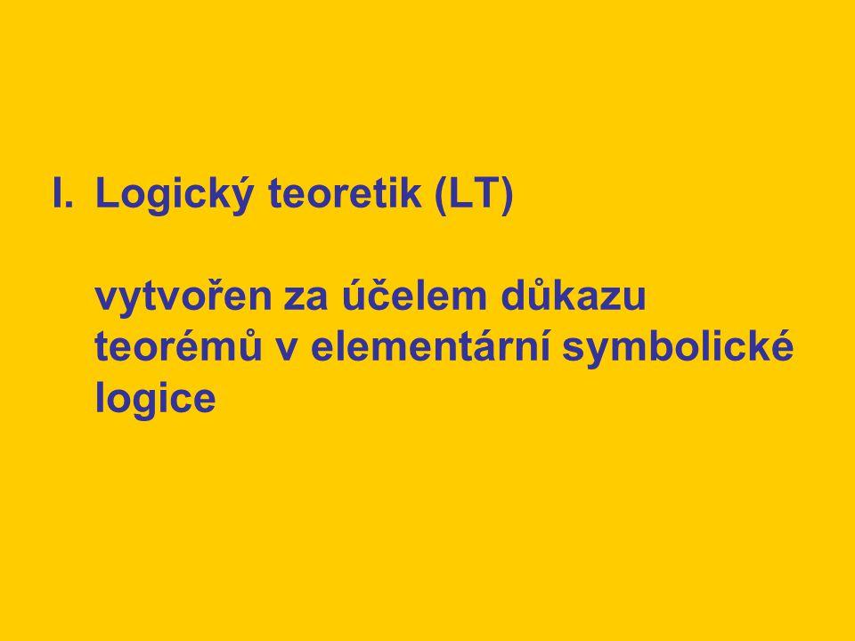 I.Logický teoretik (LT) vytvořen za účelem důkazu teorémů v elementární symbolické logice