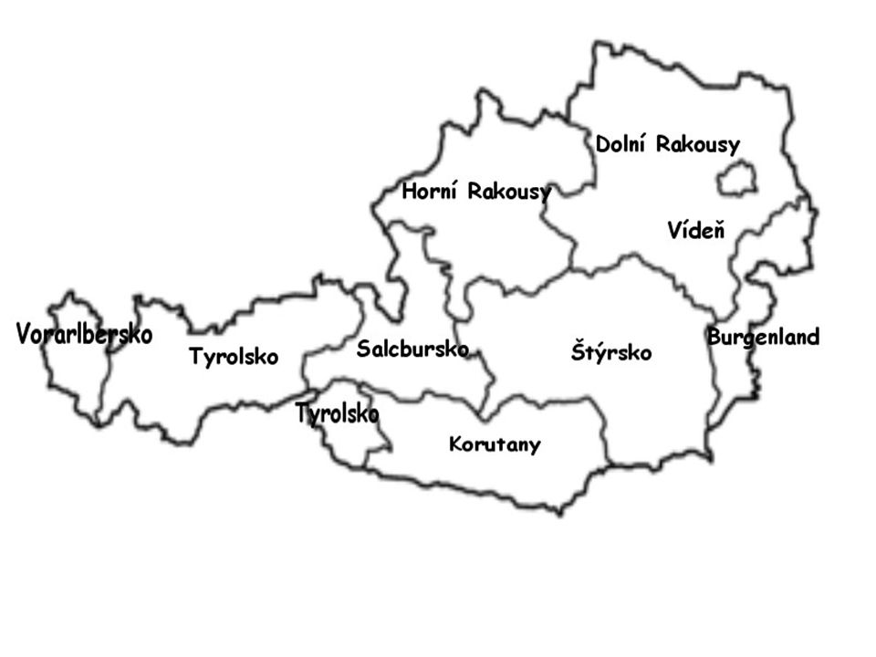 Politická geografie Rakousko rozděleno na 9 spolkových zemí, rozděleny na 84 okresů a 15 statutárních měst Rakousko rozděleno na 9 spolkových zemí, rozděleny na 84 okresů a 15 statutárních měst Spolkové země: Horní Rakousy, Dolní Rakousy, Vídeň, Burgenland, Štýrsko, Salcbursko, Korutany, Tyrolsko, Vorarlbersko Spolkové země: Horní Rakousy, Dolní Rakousy, Vídeň, Burgenland, Štýrsko, Salcbursko, Korutany, Tyrolsko, Vorarlbersko Největší obydlená oblast Vídeň ( 2,067 mil.ob.) koncentruje v sobě ¼ obyvatel Rakouska Největší obydlená oblast Vídeň ( 2,067 mil.ob.) koncentruje v sobě ¼ obyvatel Rakouska Velký přesun obyvatelstva z venkova do městských aglomerací Velký přesun obyvatelstva z venkova do městských aglomerací