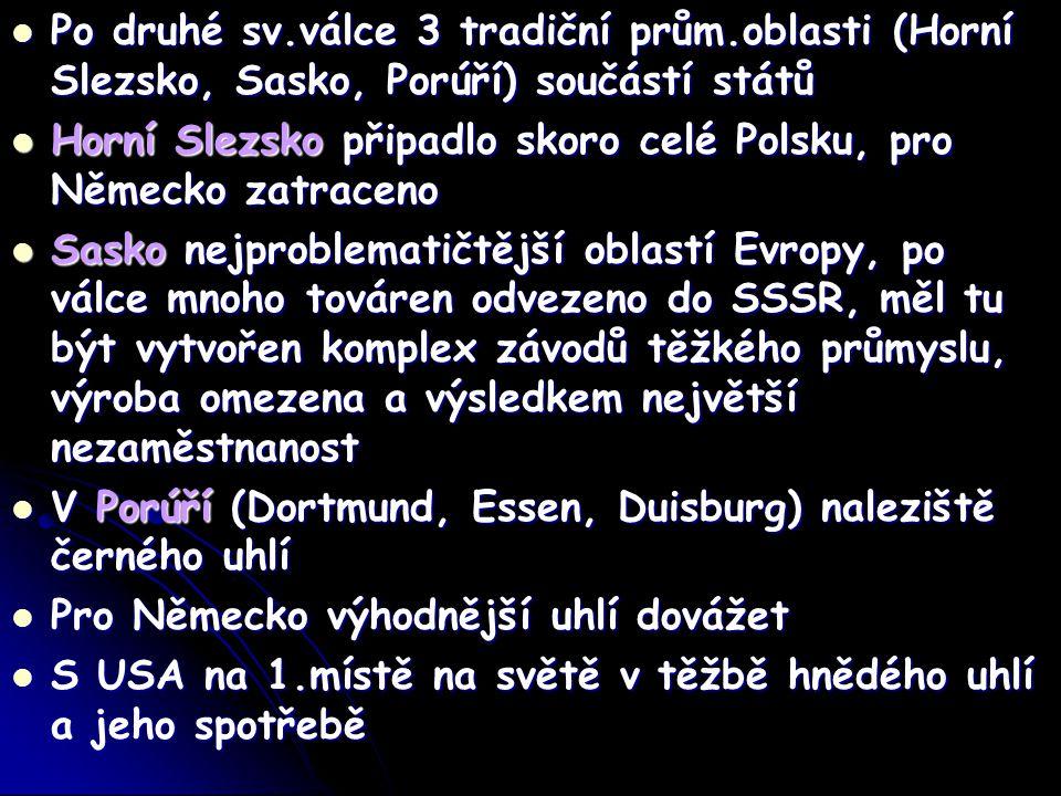 Po druhé sv.válce 3 tradiční prům.oblasti (Horní Slezsko, Sasko, Porúří) součástí států Po druhé sv.válce 3 tradiční prům.oblasti (Horní Slezsko, Sasko, Porúří) součástí států Horní Slezsko připadlo skoro celé Polsku, pro Německo zatraceno Horní Slezsko připadlo skoro celé Polsku, pro Německo zatraceno Sasko nejproblematičtější oblastí Evropy, po válce mnoho továren odvezeno do SSSR, měl tu být vytvořen komplex závodů těžkého průmyslu, výroba omezena a výsledkem největší nezaměstnanost Sasko nejproblematičtější oblastí Evropy, po válce mnoho továren odvezeno do SSSR, měl tu být vytvořen komplex závodů těžkého průmyslu, výroba omezena a výsledkem největší nezaměstnanost V Porúří (Dortmund, Essen, Duisburg) naleziště černého uhlí V Porúří (Dortmund, Essen, Duisburg) naleziště černého uhlí Pro Německo výhodnější uhlí dovážet Pro Německo výhodnější uhlí dovážet S USA na 1.místě na světě v těžbě hnědého uhlí a jeho spotřebě S USA na 1.místě na světě v těžbě hnědého uhlí a jeho spotřebě