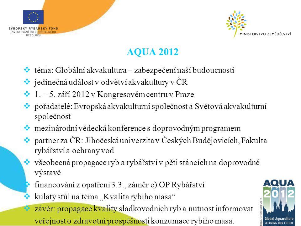 AQUA 2012  téma: Globální akvakultura – zabezpečení naší budoucnosti  jedinečná událost v odvětví akvakultury v ČR  1. – 5. září 2012 v Kongresovém