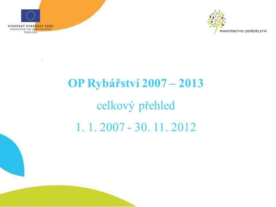 OP Rybářství 2007 – 2013 celkový přehled 1. 1. 2007 - 30. 11. 2012