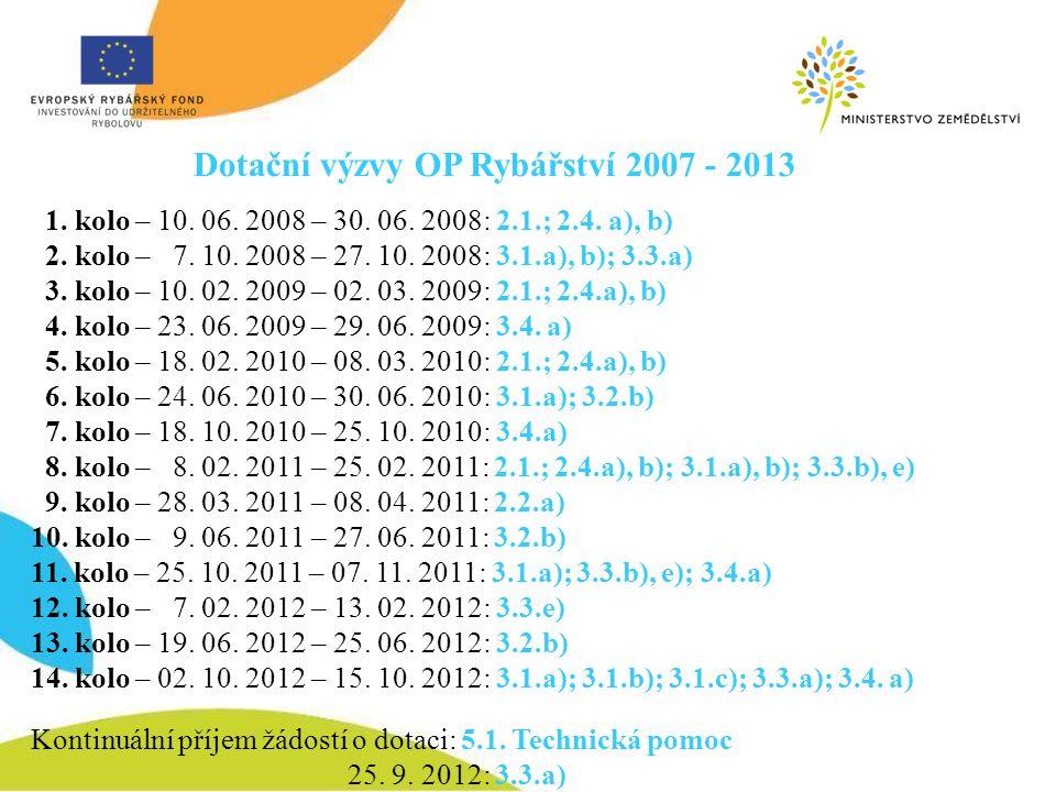 Dotační výzvy OP Rybářství 2007 - 2013 1. kolo – 10. 06. 2008 – 30. 06. 2008: 2.1.; 2.4. a), b) 2. kolo – 7. 10. 2008 – 27. 10. 2008: 3.1.a), b); 3.3.