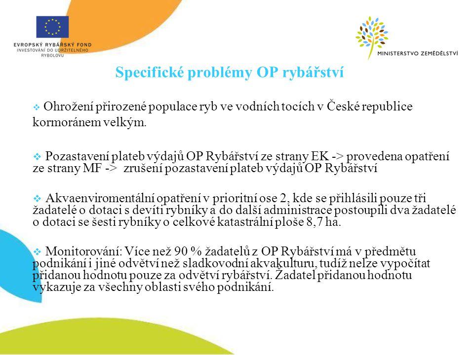  Ohrožení přirozené populace ryb ve vodních tocích v České republice kormoránem velkým.  Pozastavení plateb výdajů OP Rybářství ze strany EK -> prov