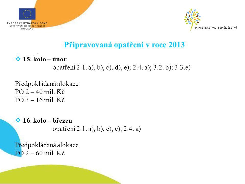 Připravovaná opatření v roce 2013  15. kolo – únor opatření 2.1. a), b), c), d), e); 2.4. a); 3.2. b); 3.3.e) Předpokládaná alokace PO 2 – 40 mil. Kč