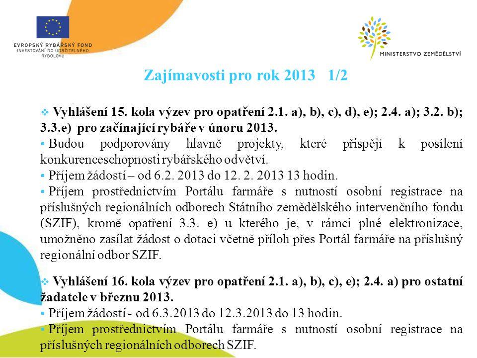 Zajímavosti pro rok 2013 1/2  Vyhlášení 15. kola výzev pro opatření 2.1. a), b), c), d), e); 2.4. a); 3.2. b); 3.3.e) pro začínající rybáře v únoru 2