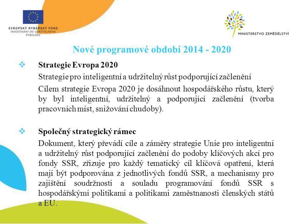 Nové programové období 2014 - 2020  Strategie Evropa 2020 Strategie pro inteligentní a udržitelný růst podporující začlenění Cílem strategie Evropa 2