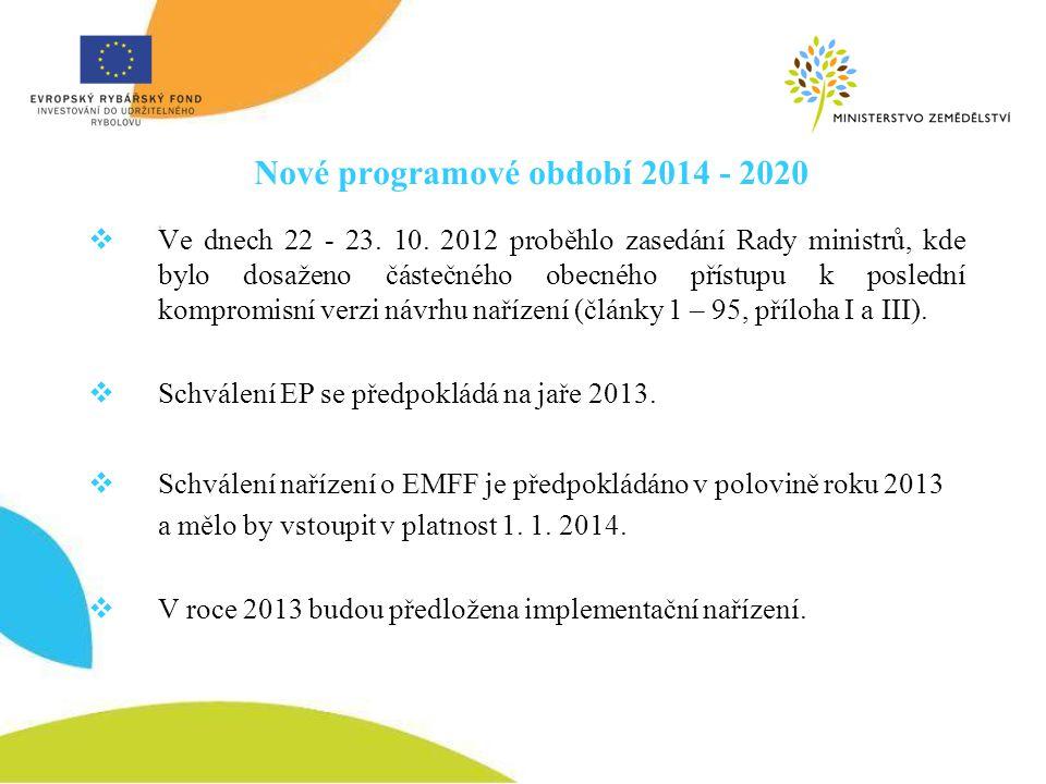 Nové programové období 2014 - 2020  Ve dnech 22 - 23. 10. 2012 proběhlo zasedání Rady ministrů, kde bylo dosaženo částečného obecného přístupu k posl