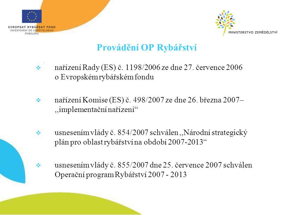Provádění OP Rybářství  nařízení Rady (ES) č. 1198/2006 ze dne 27. července 2006 o Evropském rybářském fondu  nařízení Komise (ES) č. 498/2007 ze dn