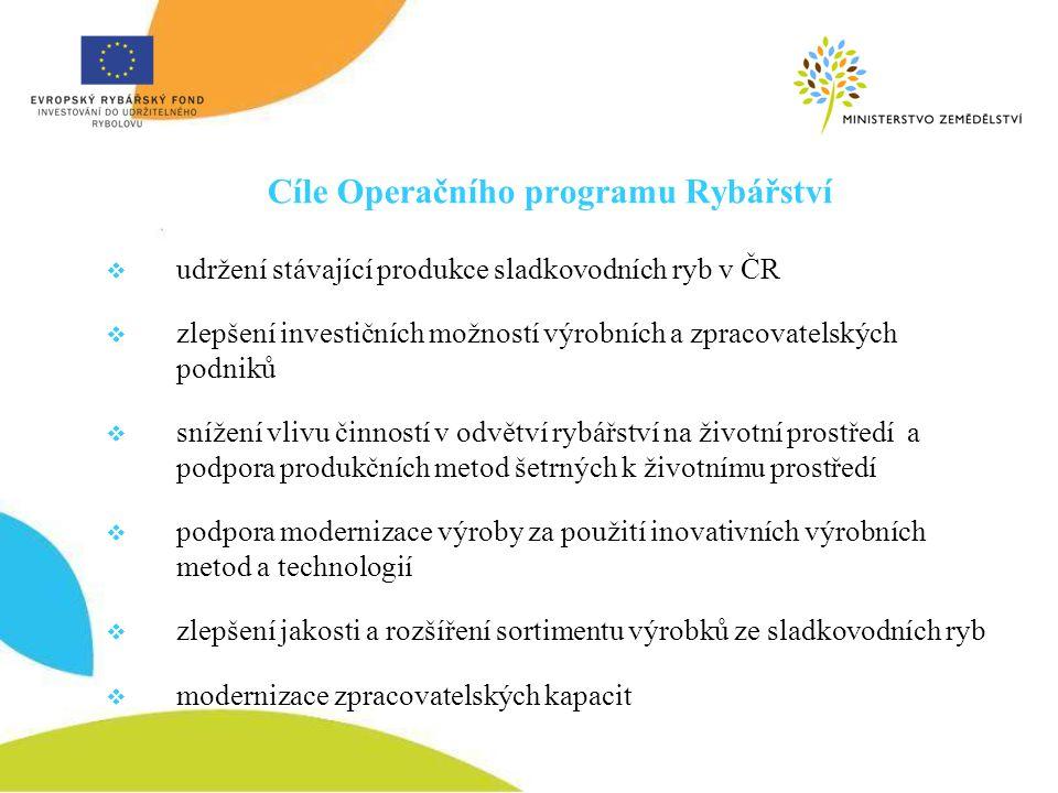 Cíle Operačního programu Rybářství  udržení stávající produkce sladkovodních ryb v ČR  zlepšení investičních možností výrobních a zpracovatelských p