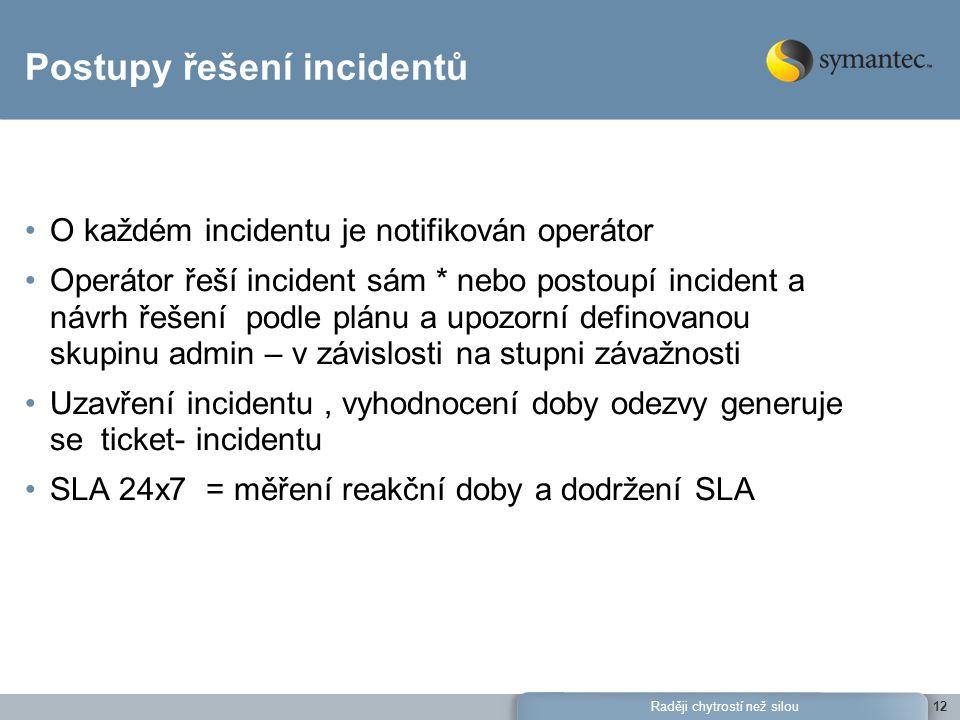 Raději chytrostí než silou12 Postupy řešení incidentů O každém incidentu je notifikován operátor Operátor řeší incident sám * nebo postoupí incident a