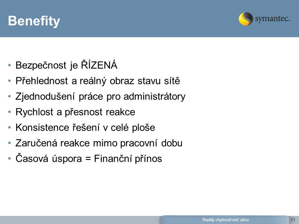 Raději chytrostí než silou13 Benefity Bezpečnost je ŘÍZENÁ Přehlednost a reálný obraz stavu sítě Zjednodušení práce pro administrátory Rychlost a přes