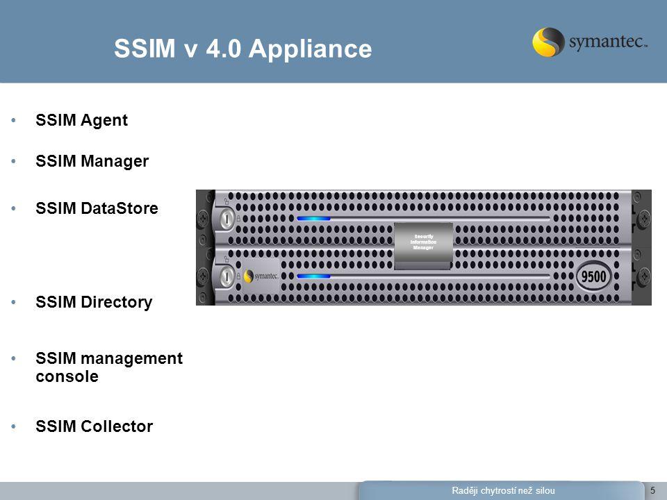 Raději chytrostí než silou5 SSIM Agent SSIM Manager SSIM DataStore SSIM Directory SSIM management console SSIM Collector SSIM v 4.0 Appliance Security