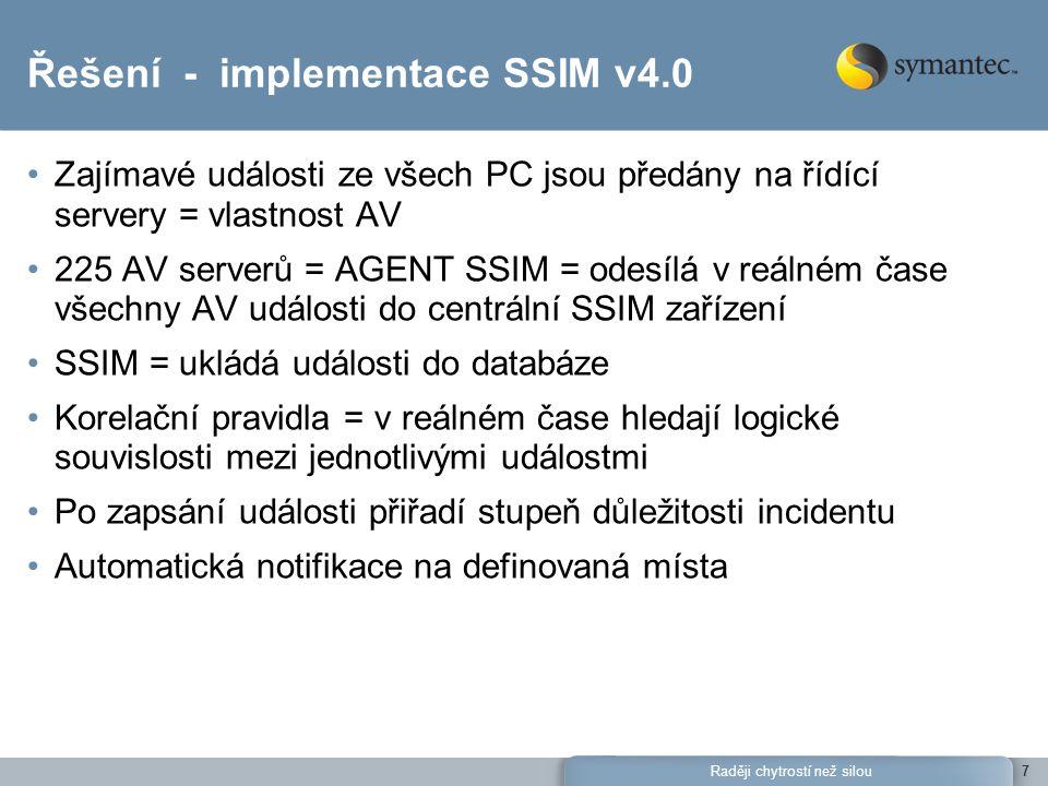Raději chytrostí než silou7 Řešení - implementace SSIM v4.0 Zajímavé události ze všech PC jsou předány na řídící servery = vlastnost AV 225 AV serverů