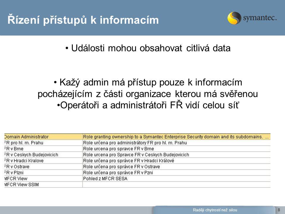 Raději chytrostí než silou8 Řízení přístupů k informacím Události mohou obsahovat citlivá data Kažý admin má přístup pouze k informacím pocházejícím z