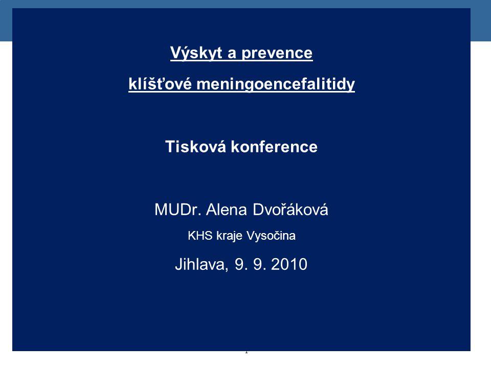 1 1 Výskyt a prevence klíšťové meningoencefalitidy Tisková konference MUDr. Alena Dvořáková KHS kraje Vysočina Jihlava, 9. 9. 2010
