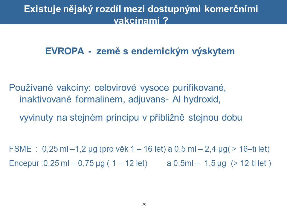 29 Existuje nějaký rozdíl mezi dostupnými komerčními vakcínami ? EVROPA - země s endemickým výskytem Používané vakcíny: celovirové vysoce purifikované