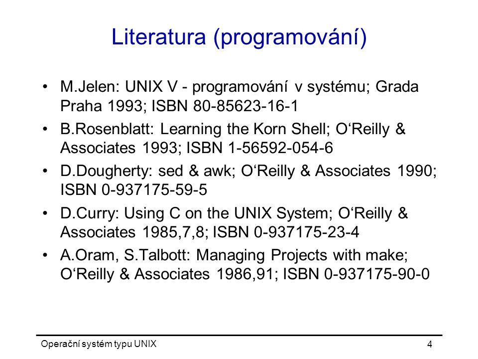 Operační systém typu UNIX 35 Výpis souboru zřetězení souborů: cat [ -nv ] [ files ] výpis souborů po stránkách: more, pg, less výpis začátku souboru: head [ - n ] [ files ] výpis konce souboru: tail { | - n | + n | -f } [ files ] výpis souboru pro tisk: pr počet bytů, slov a řádek: wc [ -cwl ] kopírování na výstup a do souboru: tee [ -a ] file výpis binárního souboru: od, hd, strings výpis s formátem: hexdump [ -e formát ] formát: [[ repeat ] / [ byte_count ]] format ...