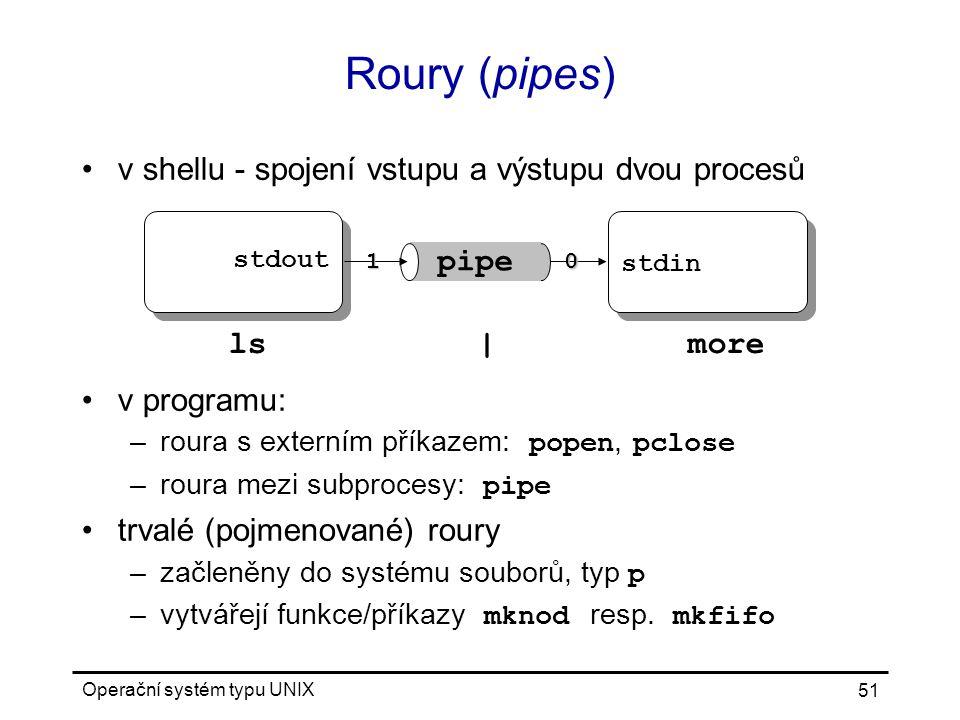 Operační systém typu UNIX 51 Roury (pipes) v shellu - spojení vstupu a výstupu dvou procesů v programu: –roura s externím příkazem: popen, pclose –roura mezi subprocesy: pipe trvalé (pojmenované) roury –začleněny do systému souborů, typ p –vytvářejí funkce/příkazy mknod resp.