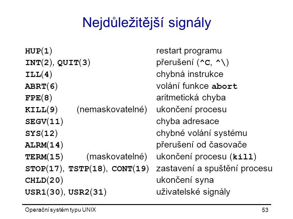 Operační systém typu UNIX 53 Nejdůležitější signály HUP ( 1 )restart programu INT ( 2 ), QUIT ( 3 )přerušení ( ^C, ^\ ) ILL ( 4 )chybná instrukce ABRT ( 6 ) volání funkce abort FPE ( 8 )aritmetická chyba KILL ( 9 )(nemaskovatelné)ukončení procesu SEGV ( 11 )chyba adresace SYS ( 12 )chybné volání systému ALRM ( 14 )přerušení od časovače TERM ( 15 )(maskovatelné)ukončení procesu ( kill ) STOP ( 17 ), TSTP ( 18 ), CONT ( 19 )zastavení a spuštění procesu CHLD ( 20 )ukončení syna USR1 ( 30 ), USR2 ( 31 )uživatelské signály