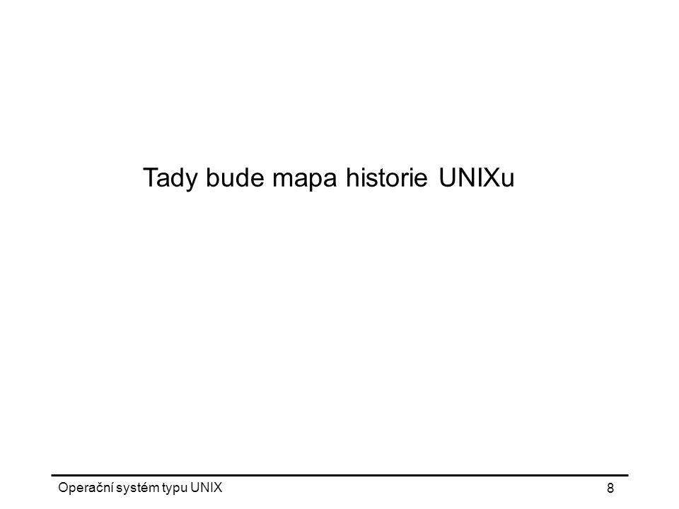 Operační systém typu UNIX 69 Shell základní program pro komunikaci s UNIXem nezávislá komponenta systému Bourne shell, C shell, Korn shell zabudované příkazy metaznaky scripty proměnné