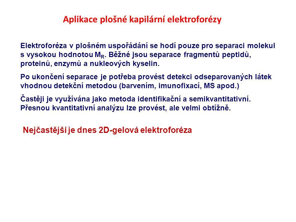 Aplikace plošné kapilární elektroforézy Elektroforéza v plošném uspořádání se hodí pouze pro separaci molekul s vysokou hodnotou M R.